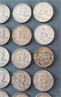 39 US Franklin Silver Half Dollar Coins
