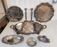 Vintage Silver Plated Trays Candlesticks Dishes