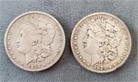 1878-S & 1879-P US Morgan Silver Dollar Coins