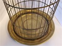 Large Antique Brass Bird Cage