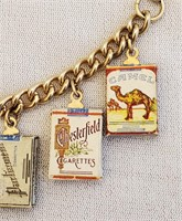 1940/50s Charm Bracelet 8 Cigarette Pack Charms