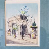 4 Vintage Watercolor Etchings of Paris Scenes