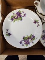 Vintage Violets Dish Set  for 6+ & Framed Violets