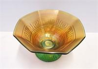Green Northwood Greek Key & Scales Carnival Glass