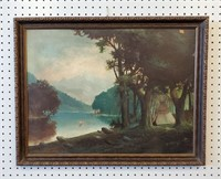 19th C Primitive Oil Painting Indian Canoe Teepee