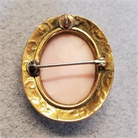 Antique Pink Shell Cameo Brooch