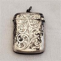 Antique English Sterling Silver Match Safe Vesta