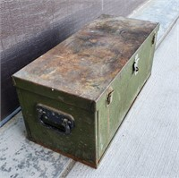 Vintage Iron Handled Green Metal Tool Chest
