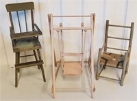 Small Wooden Doll Furniture Pieces