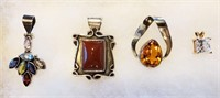4 Sterling Siver Pendants With Stones