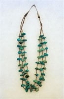 Vintage 3 Strand Turquoise Nugget  Heishi Necklace