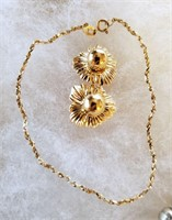 """Fine 7"""" 14k Gold Chain Bracelet & Earrings"""