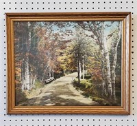 1940s Wallace Nutting Color Litho Print Birches
