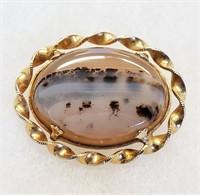 Vintage Moss & Austrian Agate Pins Earrings