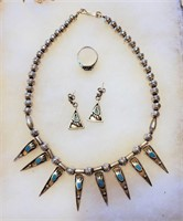 Navajo Silver & Turquoise Necklace Earrings & Ring