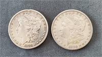 1880-S & 1883-S US Morgan Silver Dollar Coins