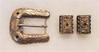 Vintage Sterling 14k Gold Belt Buckle Stamped FCT