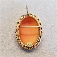 Antique Italian 14k Gold Cameo Brooch Or Pendant