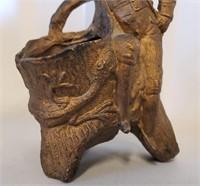 "Antique 4"" Figural Toothpick Holder Man & Lizard"