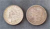 1884-O & 1901-O US Morgan Silver Dollar Coins
