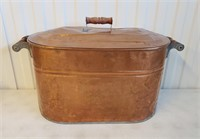 Antique Copper Washboiler With Cover & Handles