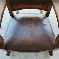 Antique Solid Tiger Oak Rocking Chair