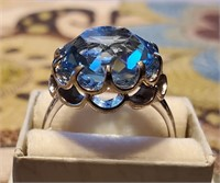 Sterling Silver Ring with Blue Stone Size 9