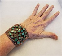 1970s Bell Trading Turquoise Copper Cuff Bracelet