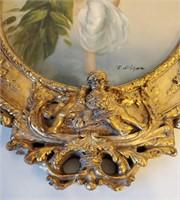 Original Allegorical Oil Painting in Ornate Frame