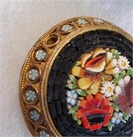 3 Antique Italian Mosaic Jewelry Round Flower Pins