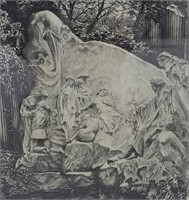 Antique Etching of a 19th Century Tomb