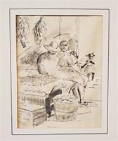 Rupert Conrad NASSAU Ink Sketch Wyoming Artist