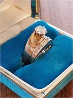 14k Gold 1 Carat Diamond Wedding Ring Set 8 1/2