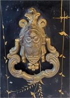 Antique Tole Painted Coal Scuttle With Lion Head