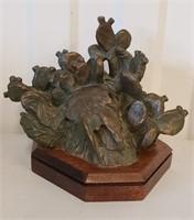 1996 Bronze Sculpture SW Cow Skull & Cactus Weeks