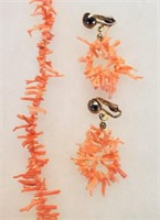 """Vintage 22"""" Pink Branch Coral Necklace & Earrings"""