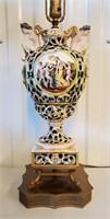 """34"""" Capodimonte Italy Table Lamp Cherubs"""