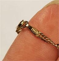 Italian 14k Gold Necklace Blue Stone & Diamonds