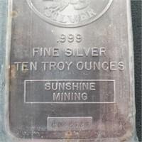 1984 Sunshine Mining 10 Troy Oz .999 Silver Bar