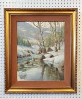 Very Fine Painting Winter Landscape Harald Wentzel