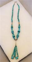 """BIG 25"""" Turquoise Bead & Heishi Necklace"""
