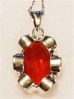 """23"""" Mexican Sterling Silver & Red Stone Necklace"""