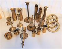 Vintage Decorative Brass Candlesticks Vases Etc