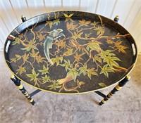 Oriental Style Tin Folding Table Tole Painted Bird