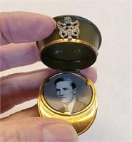 WWII Sweetheart Hat Cap Locket Lucite Cuff Brooch
