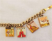 1940s/50s Charm Bracelet 7 Magazine Cover Charms