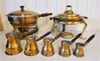 2 Vintage Brass Chafing Dishes & Turkish Beakers