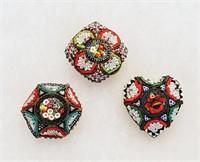 Circa 1920s Italian Mosaic Jewelry Round Pins