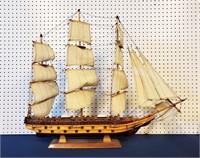"35"" Mid Century Hand Made Sailing Ship Model"