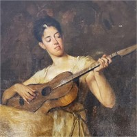 Unsigned 19th Century Oil Painting Woman & Guitar